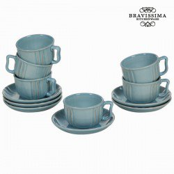 Lot de 6 tasses en faïence bleu - Collection Kitchen's Deco by Bravissima Kitchen