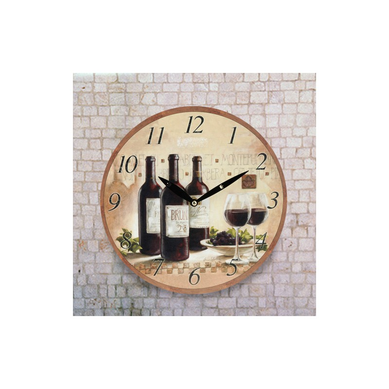 horloge murale autour du vin un prix irr sistible. Black Bedroom Furniture Sets. Home Design Ideas