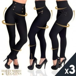 HOLLYWOOD PANTS - PACK 3 PANTALON AMINCISSANT TAILLE HAUTE